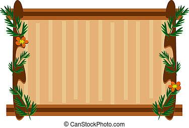 armação madeira, com, plantas