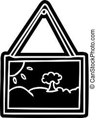 armação quadro, ícone, caricatura, desenho