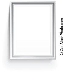 armação quadro, branca, isolado, vazio