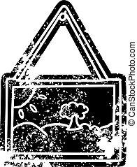armação quadro, grunge, desenho, ícone