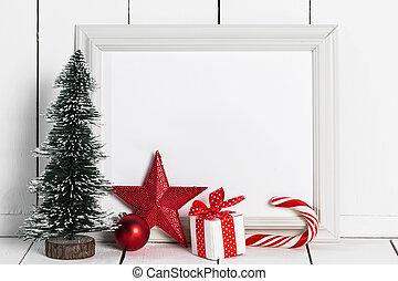 armação quadro, natal, decoração