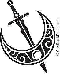 arma, antiga, desenho, espada