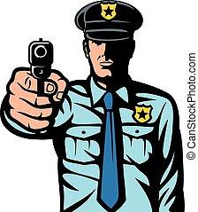 arma, apontar, policial