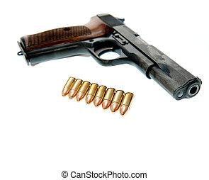 arma, -, arma de fuego, aislado, plano de fondo, blanco