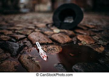 arma, assassinato, conceito, bloodied, crime