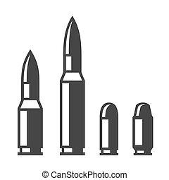 arma, bala, iconos, conjunto, aislado, blanco, fondo., vector