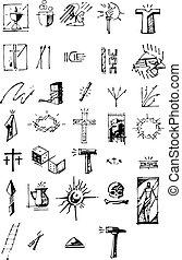 Arma Christi - Hand drawn vector illustration or drawing of ...
