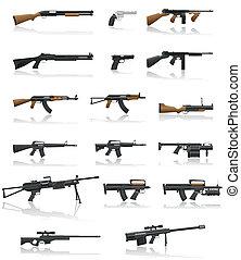 arma, conjunto, arma de fuego, colección, iconos