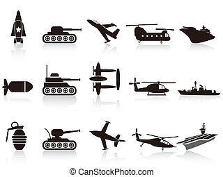arma, conjunto, negro, guerra, iconos