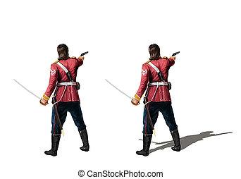 arma de fuego, colonial, británico, espada, soldado