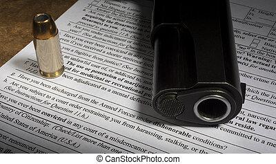 arma de fuego, compra, nics, forma, con, dishonorable, descarga, línea