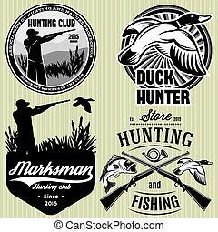 arma de fuego, conjunto, emblema, caza, cazador, pato,...