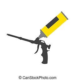arma de fuego, herramienta, amarillo, tubo, construcción, ...