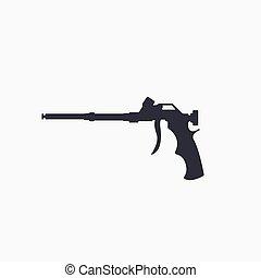 arma de fuego, herramienta, casa, construcción, vector, ...