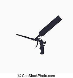 arma de fuego, herramienta, icon., tubo, construcción, ...