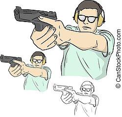 arma de fuego, media longitud, ilustración, dibujado, vector, garabato, macho, aislado, plano de fondo, bosquejo, negro, entrenamiento, líneas, seguridad, blanco, tenencia, tirador, disparando, mano, táctico