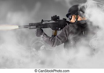 arma de fuego,  submachine, policía, alboroto, Disparo, calle, el suyo, Humo, asalto