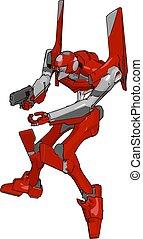arma, ilustração, robô, experiência., vetorial, branco vermelho