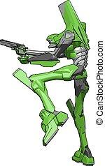 arma, ilustração, robô, experiência., vetorial, verde branco
