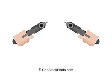 arma, isolated., dois, ilustração, mão, vetorial, punho, frente, vista., handgun