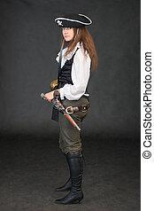 arma, mar nero, fondo, pirata