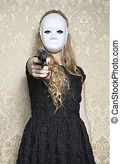 arma, mulher, máscara, tu, excels