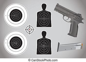 arma, munições, e, alvos, -, ilustração