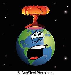 arma nuclear, explodindo, caricatura, terra