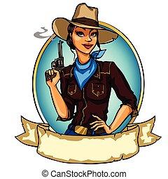 arma, segurando, cowgirl, isolado, bonito, fumar, branca