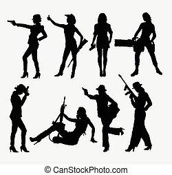 arma, silhouette, ragazza