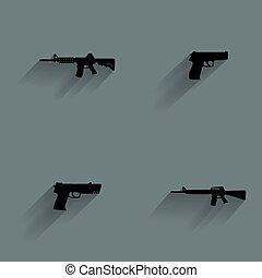 arma, silueta, ícones