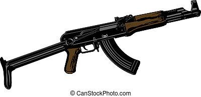 arma, vector, automático, ilustración