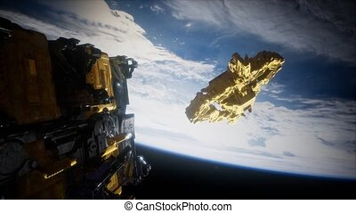 armada, étranger, la terre, nearing, vaisseau spatial