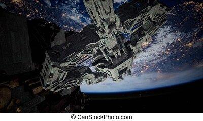 armada, nearing, étranger, vaisseau spatial, la terre