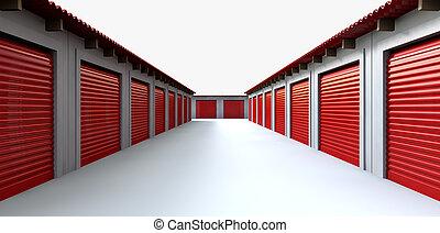 armadietti, magazzino, prospettiva