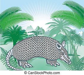 armadillo, américas, tropical
