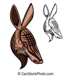 Armadillo animal head mascot of hunting and sport - ...