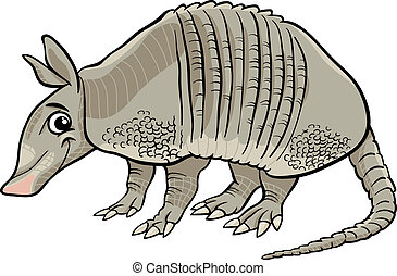 armadillo, animale, cartone animato, illustrazione