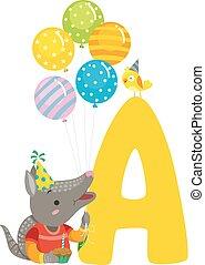 Armadillo Birthday Alphabet Illustration