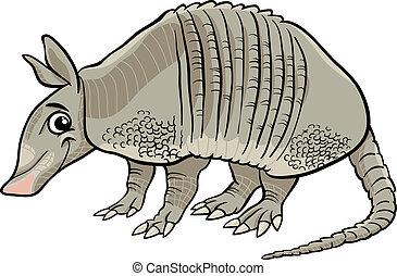 armadillo, caricatura, ilustración, animal