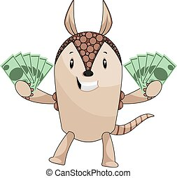 Armadillo holding money, illustration, vector on white background.
