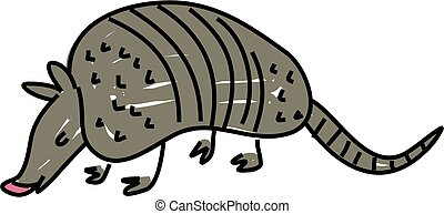 armadillo isolated on white drawn in toddler art style