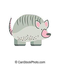 armadillo jungle animal in cartoon abstract design