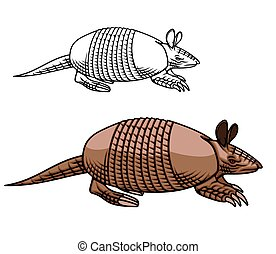 Armadillo mascot, animal with armoured shell icon - ...