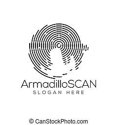 Armadillo Scan Technology Logo vector Element. Animal Technology Logo Template