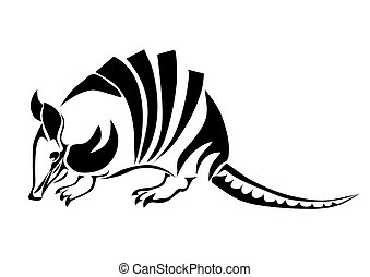 armadillo. silhouette of animal isolated on white