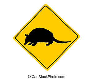 Armadillo warning sign