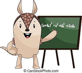 Armadillo with blackboard, illustration, vector on white background.