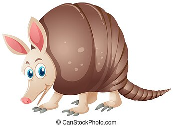 Armadillo with happy face illustration