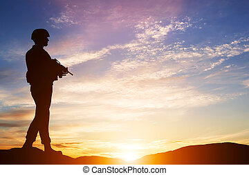 armado, soldado, com, rifle., guarda, exército, militar, war.